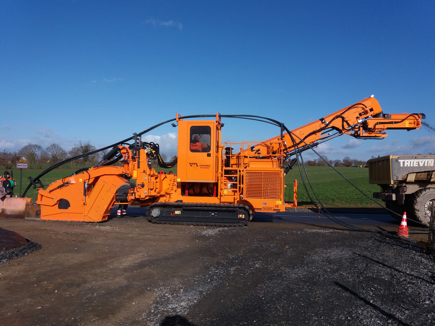 Tesmec 950R T620 Trencher for Fiber Optic projects in urban areas